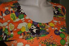 vtg 60s NOVELTY print ultra SOFT orange PANDA BEAR maxi DRESS S M long