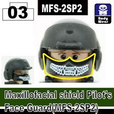 Black Maxillofacial face shield WHITE for LEGO army military brick minifigures