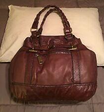 Fossil Fifty Four Hannah Brown Leather XL Purse Satchel Shoulder Bag