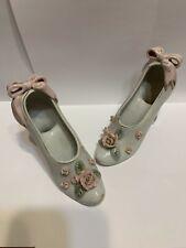 2 Vintage Porcelain High Heel Shoe Figurine Handpainted Pink Roses Royal Japan