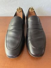 Pre Owned Salvatore Ferragamo Dark Brown Leather Penny Loafers 9.5EE