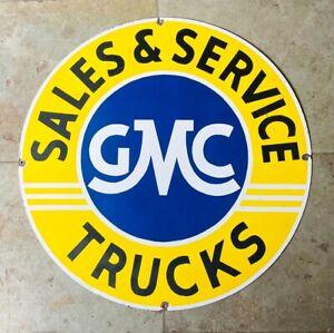 GMC TRUCKS SALES & SERVICE ENAMEL PLATE VINTAGE PORCELAIN SIGN 30 INCHES ROUND
