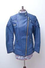 Rare Original Vintage Blue Leather 'Interstate' Biker Jacket s38