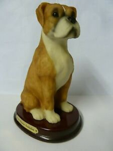 The Juliana Collection BOXER Dog Figure On Wooden Plinth in EXCELLENT CONDITION