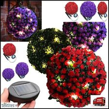 Topiary Ball Garden Lights Rose Boxwood Hanging Ornament 20 Led Solar Powered