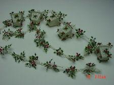Vintage Christmas Decorations Plastic Filigree Garland Holly Leaves Lanterns