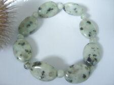 20 mm ovale Lotus Sesam Jaspis Stein Armband 20 cm auf Stretchband dehnbar