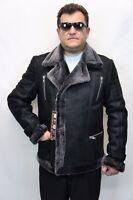 Men 100% Real Sheepskin Shearling Leather Bomber Aviator Jacket Coat Black S-6XL