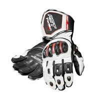 RST TRACTECH EVO White Motorbike CE Leather Sports Gloves