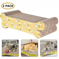 2-pack Cat Scratching Corrugated Board Scratcher Bed Pad with Catnip Recycle US