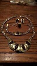 Beaded Gold Plated Brown Bronzite Stone Rhinestone Crystal 4 Pieces Jewelry Set