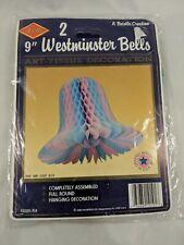 "Beistle 9"" Westminster Bells Pink Blue Art Tissue Decoration"