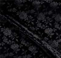 SATIN BLACK BROCADE FLORAL JACQUARD BACKDROP FABRIC WEDDING BY YARD HOME DECOR