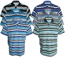 Men's Striped T-Shirt Loose Fit Pique Polo Polycotton 1906 Casual Tops M to 2XL