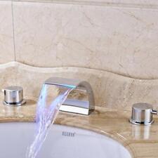 LED Bathroom Basin Faucet Chrome Dual Handles 3 Holes Waterfall Spout Mixer Tap