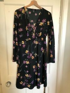 New Look Maternity Long Sleeve Black Floral Dress Size 14