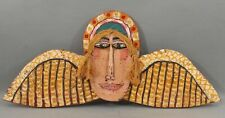 JIM LAMBERT Outsider American Folk Art Angel Wings & Halo Painted Wood Carving