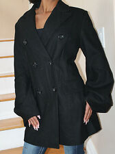 BCBG Maxazria Black Double Breasted Wool Coat w/ Puff Sleeves sz L