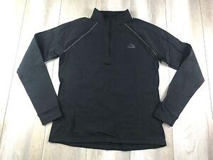 LL Bean Shirt Women's Extra Large XL Black Lightweight 1/4 Zip Mock Neck Ladies