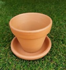 9cm Outdoor Garden Patio Plant Italian Terracotta Round Planter Pots Saucers