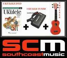NEW RED SOPRANO UKULELE +GIG BAG + PLAY UKULELE TODAY DVD + UKULELE TUNER