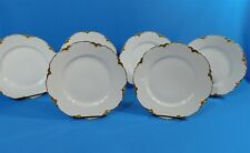 """6 Haviland Limoges France Gold Rim Lunch Plates 8.5"""" Silver Anniversary Issue"""
