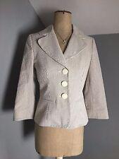 Hobbs ~ BNWT, 100% cotton, tailored brown & white regatta jacket ~ XS 8 / 10