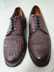 Men's Allen Edmonds Sharkskin Belmont Brown Split Toe Shoes sz 9.5D