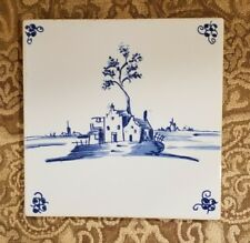 Antique Delft Fireplace Tile Blue Decorated With Farm House