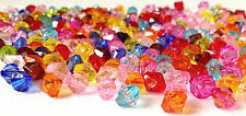 1,000 ASSORTED COLOUR ACRYLIC BICONE JEWELLERY MAKING BEADS = 4mm / AB 0184