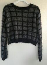 Juniors BONGO RETRO Round Neck Fuzzy Short Sleeve Sweater  Black/White
