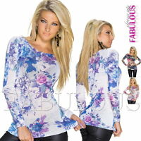 New Sexy Women's Floral Print Jumper Sweater Hot Knit Top Size 8 10 12 S M L