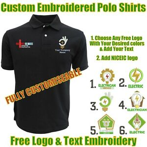 NEW Custom Embroidered PERSONALISED Polo Shirt ELECTRICIANS UNIFORM NICEIC LOGO