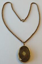VINTAGE ANTIQUE VICTORIAN GF HAIR MOURNING LOCKET PENDANT NECKLACE SPX5