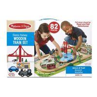 Melissa & Doug 97005 Classic Railway Wooden Train Set The Original 82 Pieces