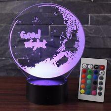 3D NightLight Changeable Mood Lamp Light USB Decorative Table Lamp emote control