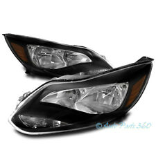 FOR 12-14 FORD FOCUS REPLACEMENT BLACK AMBER HEADLIGHTS HEADLAMPS LAMPS ASSEMBLY