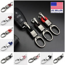 Hand Woven Horseshoe Buckle Car Keychain Keyring Auto Car Key Rings Holder Clip