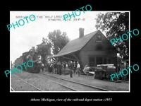 OLD 6 X 4 HISTORIC PHOTO OF ATHENS MICHIGAN, THE RAILROAD DEPOT STATION c1915