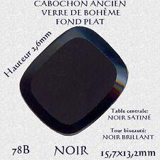 78B *** 6 CABOCHONS ANCIENS VERRE BOHÊME RECTANGLE 15,7X13,2mm NOIR