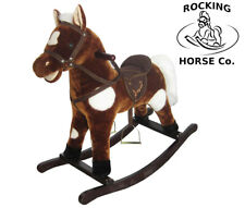 New Plush Rocking Horse - Brown + White Spots Deluxe Mane Saddle Bridle Sounds