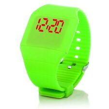 Digital Silikon LED Armband Uhr Armbanduhr Watch Herren Damen Kinder Sport Grün