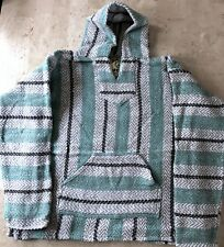 Baja Joe Striped Woven Eco-Friendly Pullover Mexican Hoodie Pastel Mint New