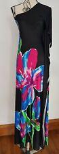 Bnwts Long Silky Black Floral Blue Pink Maxi Dress One Shoulder Size 10 12 L