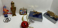 Lot 8 Vtg Metal Xmas Ornaments Soldier Red Bell Airplane Firetruck Gold Plated