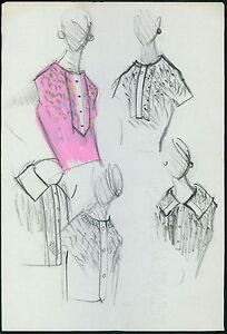 PIERRE BALMAIN Original drawing old Fashion Scketch ART COUTURE Paris unsign 08