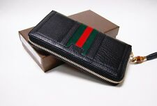 New Authentic Gucci Rania Black Leather WEB Zip Around Wallet Clutch