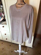 "TOM HAGAN Men's Beige Cream Fine Knit V Neck Sweater Jumper Size L 42"" Chest"