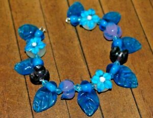 New 10 pc set Fine Murano Lampwork Glass Beads - Detailed Flowers - A4456c