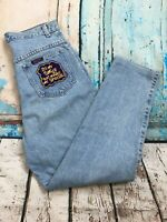 SASSON Vtg 80s Retro Light Acid Wash High Waisted Patched Hipster Jeans 30x28